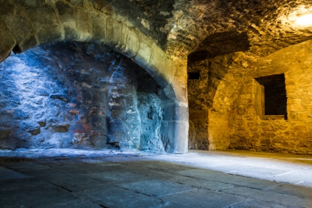 castle interior: Warm and cold light in stone chamber