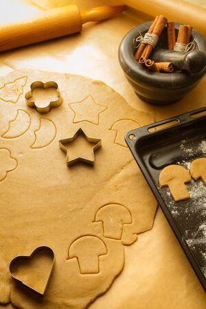 Christmas gingerbread cookies preparation photo