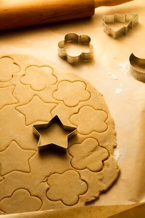 Cutting of Christmas cookies photo