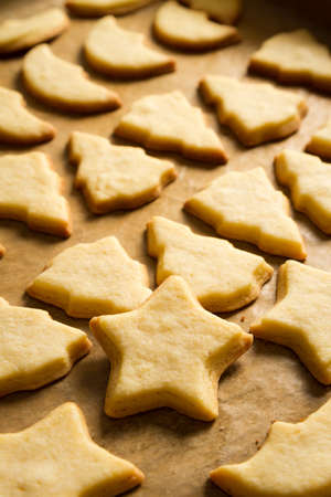 Closeup baked Christmas cookies on a baking tray Stock Photo - 15963346