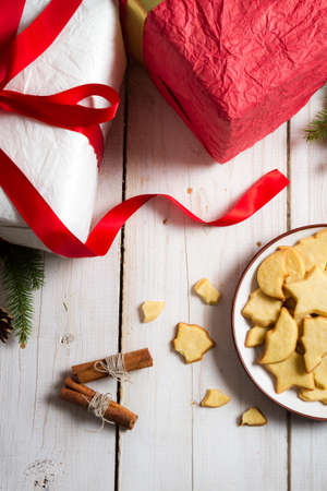 Cookies and gifts at Christmas time photo