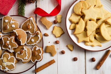Christmas cookies with nuts and cinnamon photo