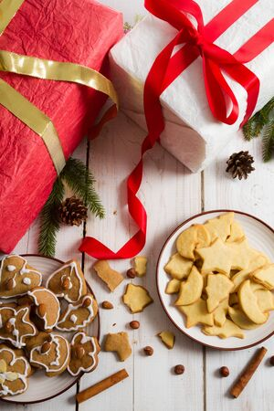 Christmas view on the table full of gifts and cookies Stock Photo - 15963753