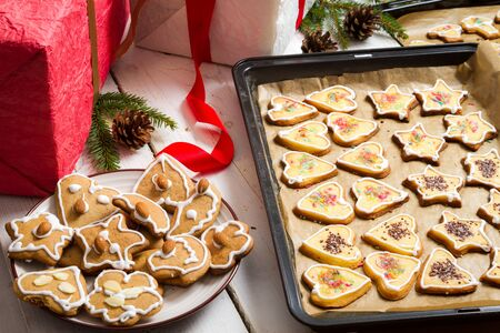 Christmas scene with gifts and cookies Stock Photo - 15963847