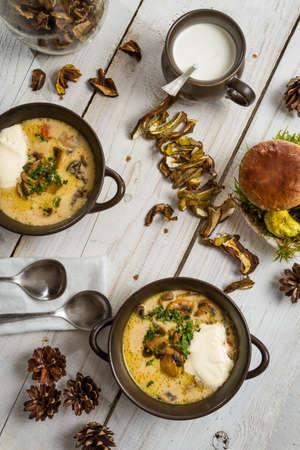 unusually: Unusually served mushroom soup