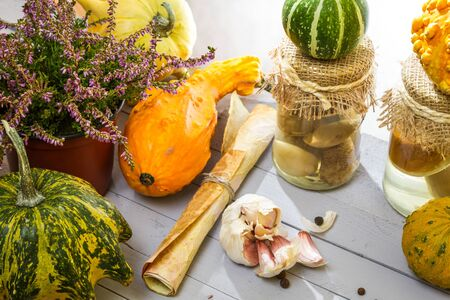 Autumn vegetables and mushrooms with the prescribe photo