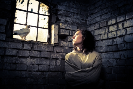 restraining: Woman and white dove in prison as a symbol of dreams of freedom