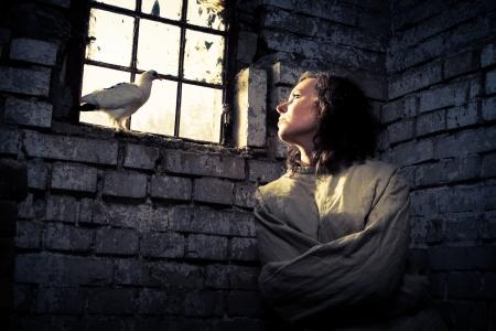 psychiatrique: Symbole de la libert� dans une prison psychiatrique Banque d'images