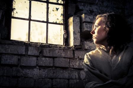 Prisoner Frau tr�umt von Freiheit Lizenzfreie Bilder