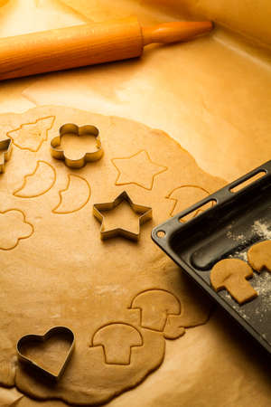 Cookies made from gingerbread just before baking photo