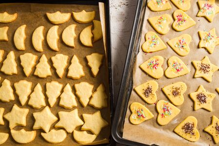 Freshly baked homemade Christmas cookies on a baking tray Stock Photo - 16272428
