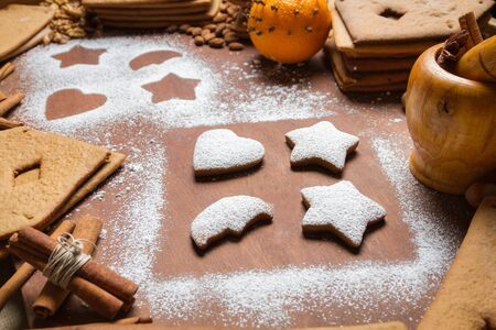 Close-up of decorated gingerbread cookies photo