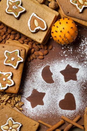 Frame made ​​from nuts and gingerbread cookies photo