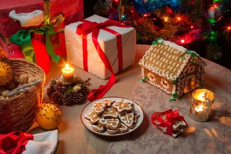Christmas gift table set with gingerbread photo