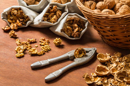 Walnut cracking and collecting their Stock Photo - 16397544
