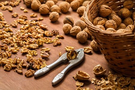 Walnuts on old wooden table Stock Photo - 16397494