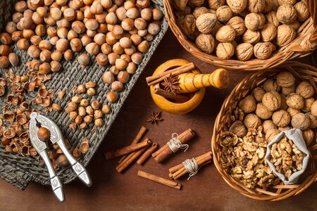 Nuts and cinnamon as the various ingredients Stock Photo - 16397551