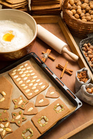 Ingredients and nuts for gingerbread cookies for Christmas photo