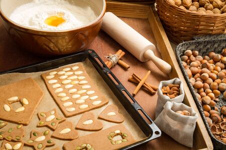 Prepare dough for gingerbread cookies on a baking tray photo