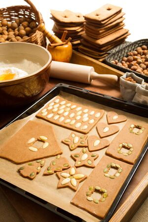 Gingerbread homemade cookies ready for baking Stock Photo - 16397397