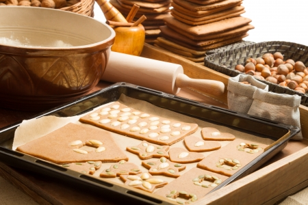 Homemade gingerbread cookies baking Stock Photo - 16397389