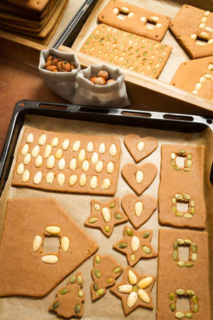 Before and after baking gingerbread cookies Stock Photo - 16397495
