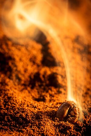 Close-up of roasted coffee background photo