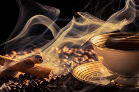 attar: Cinnamon smell of brewed coffee Stock Photo