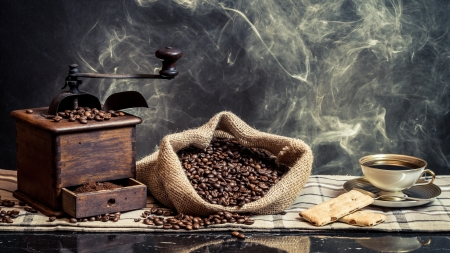 Scent of vintage brewing coffee photo