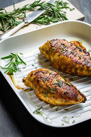 Grilled chicken breast in a pan Stock Photo - 16701742