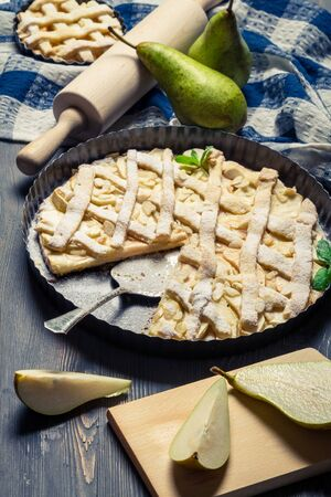 Pie made of fresh pears photo