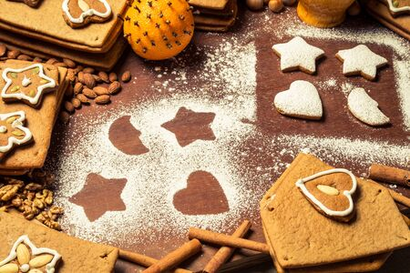 Christmas gingerbread frame surrounded by nuts Stock Photo - 16824362