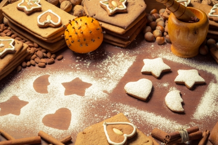 Christmas frame made ​​up of gingerbread cookies and nuts photo