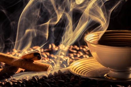 Cinnamon smell of brewed coffee Stock Photo