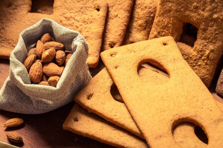 Close-up of the nuts and gingerbread cookie photo