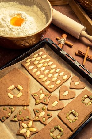 Ingredients and nuts for gingerbread cookies for Christmas Stock Photo - 16824133