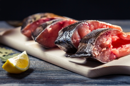 Close-up of fresh fish and lemon Stock Photo - 17088799