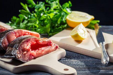 Lemon and salt as the main spice of fresh fish Stock Photo - 17088871