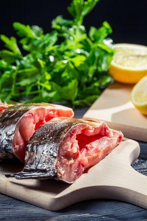 Fresh fish with lemon and salt Stock Photo - 17088844