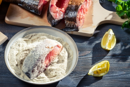 Fresh fish prepared in the traditional way in the flour Stock Photo - 17088956