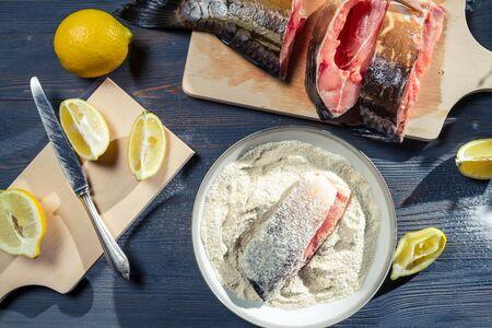 Preparation for frying fresh fish Stock Photo - 17088948