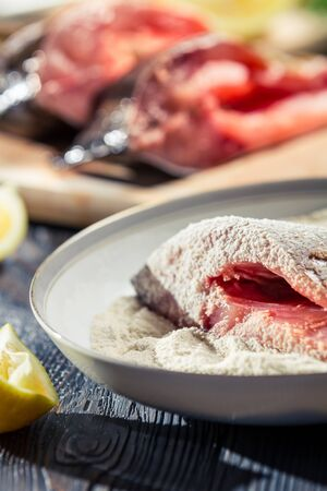 Close-up of fresh fish in batter ready for frying Stock Photo - 17088754