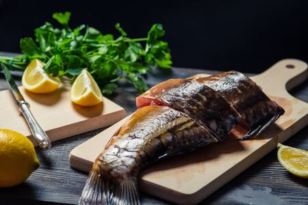 Sliced ​​fresh fish on the board before frying Stock Photo - 17088800