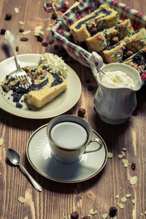 Poppy seed cake and cup of coffee Stock Photo - 17088937