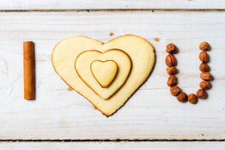 I love you sentence arranged with cookies and nuts Stock Photo - 17127196