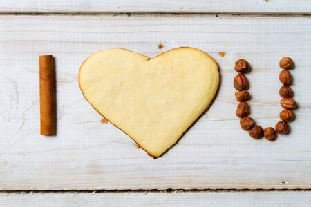 I love you sentence arranged with cookies and nuts  Stock Photo - 17127128