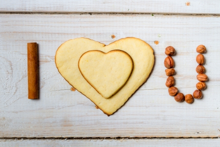 I love you sentence arranged with cookies and nuts  Stock Photo - 17127214