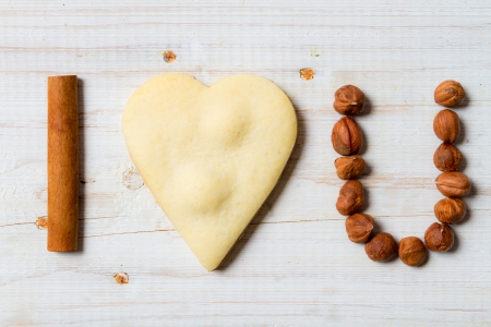 I love you sentence arranged with cookies and nuts  photo