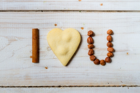 I love you sentence arranged with cookies and nuts Stock Photo - 17127206