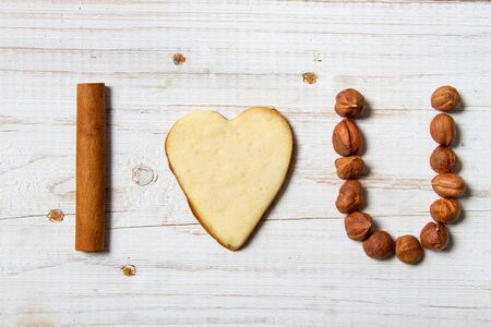 I love you sentence arranged with cookies and nuts  Stock Photo - 17127393